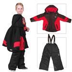 Hochwertiger Kinder Skianzug Schwarz Rot Größe 98