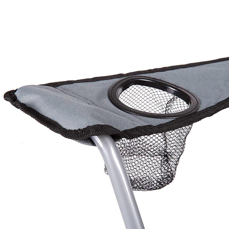 Pic_C:Campingstuhl Anglerstuhl in schwarz/grau, Faltstuhl mit hoher Rückenlehne und Getränkehalter