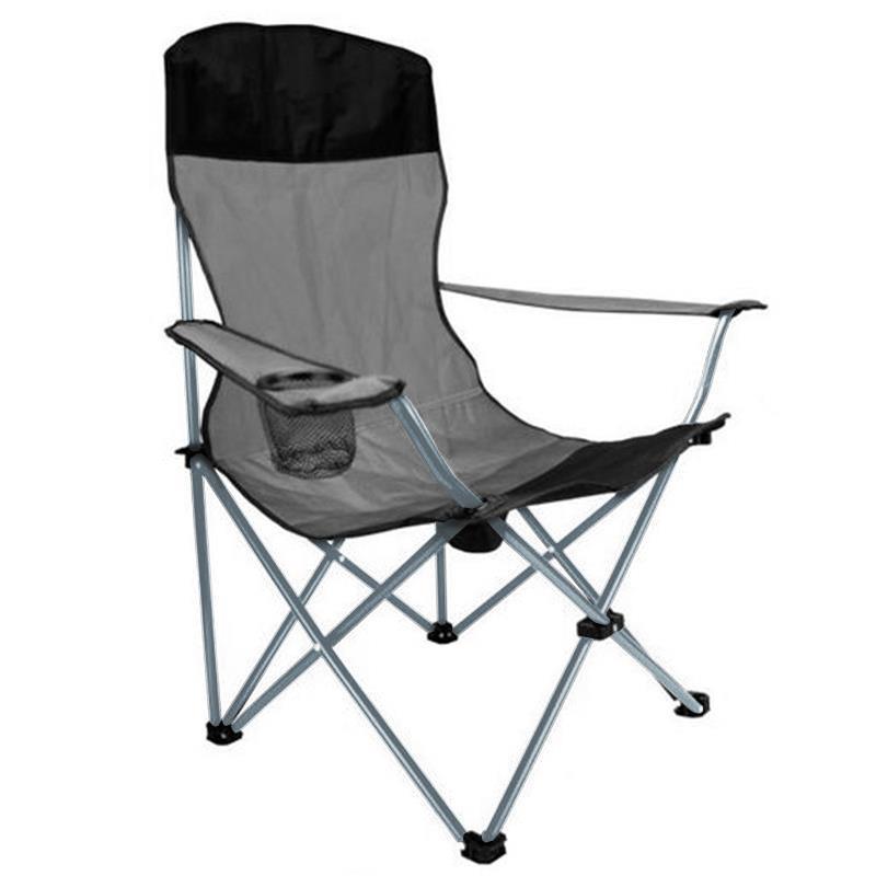 Pic_A:Campingstuhl Anglerstuhl in schwarz/grau, Faltstuhl mit hoher Rückenlehne und Getränkehalter