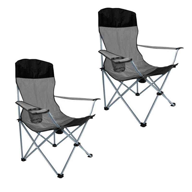 Pic_A:Campingstuhl 2er Set, Faltstuhl, Anglerstuhl mit Getränkehalter und hoher Rückenlehne