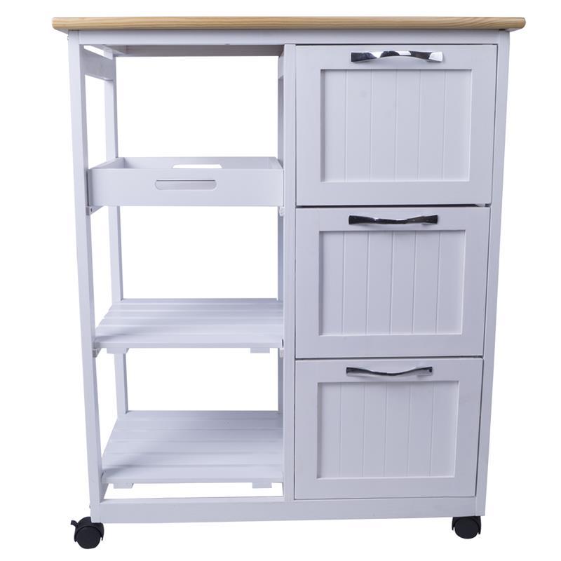 Pic_F:Küchenwagen rollbar mit Arbeitsplatte aus Kiefernholz, Schubladen 90052