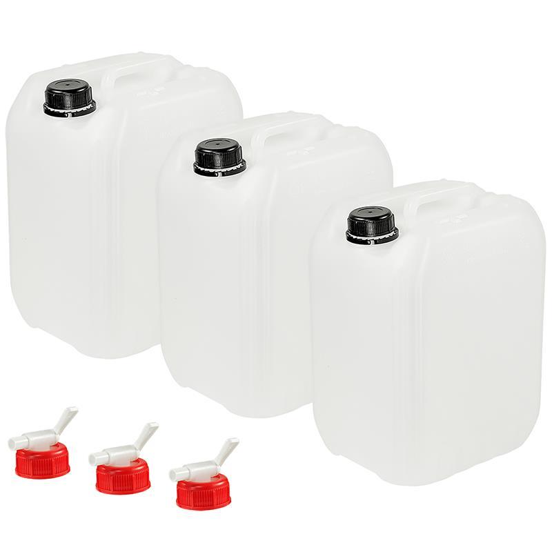 Pic_A:3 x Wasserkanister 10 L mit Ablasshahn