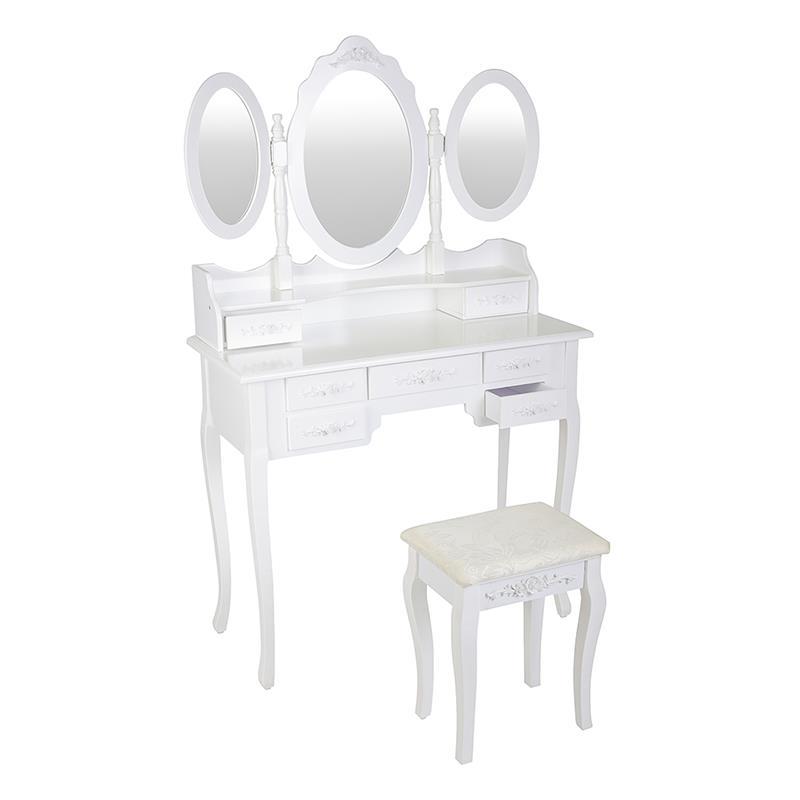 Pic_A:Schminktisch weiß mit Hocker und 3 Spiegeln