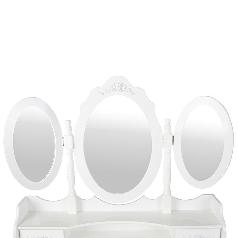 Pic_B:Schminktisch weiß mit Hocker und 3 Spiegeln
