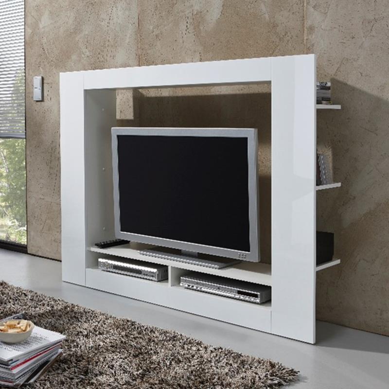 Pic_A:TV-Medienwand Anbauwand Wohnwand weiß 45343