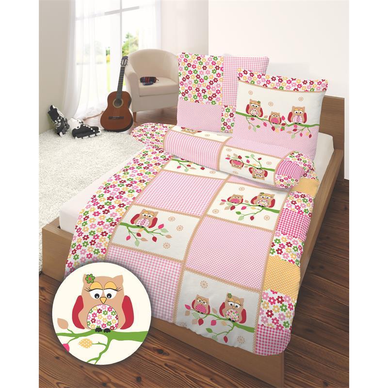 Pic_B:Bettwäsche Eule pink 135 x 200 cm Biber 2-teilig 660071