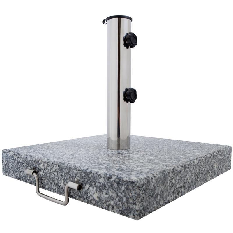 Pic_A:Sonnen-Schirmständer 30 kg, Granit, eckig mit Griffen/Rollen, Garten und Balkon 61019