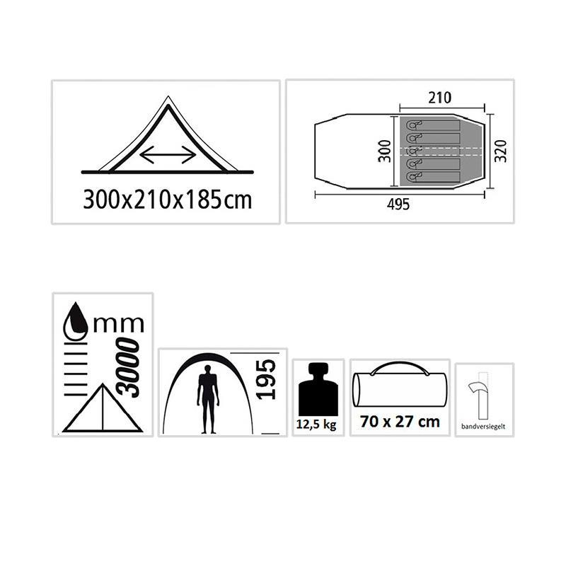 Pic_B:Zelt Tunnelzelt Familienzelt Camping-Zelt 5 Personen Alicante 5 oliv 41550