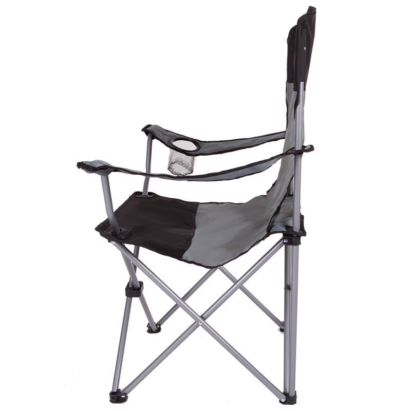 Pic_B:Campingstuhl Anglerstuhl in schwarz/grau, Faltstuhl mit hoher Rückenlehne und Getränkehalter