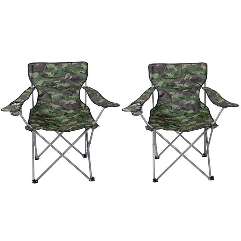 Pic_A:Campingstuhl faltbar camouflage mit Getränkehalter und Tragetasche 2er Set
