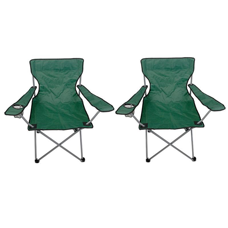 Pic_A:Campingstuhl faltbar grün mit Getränkehalter und Tragetasche 2er Set