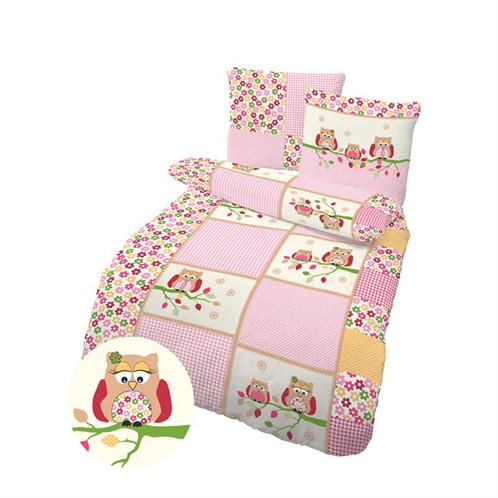 bettw sche eule pink 135 x 200 cm biber 100 baumwolle kinder 2 teilig ebay. Black Bedroom Furniture Sets. Home Design Ideas