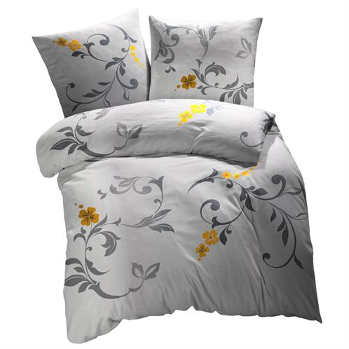 bettw sche garnitur 160x210 cm baumwolle 2 teilig blumen grau gelb ebay. Black Bedroom Furniture Sets. Home Design Ideas