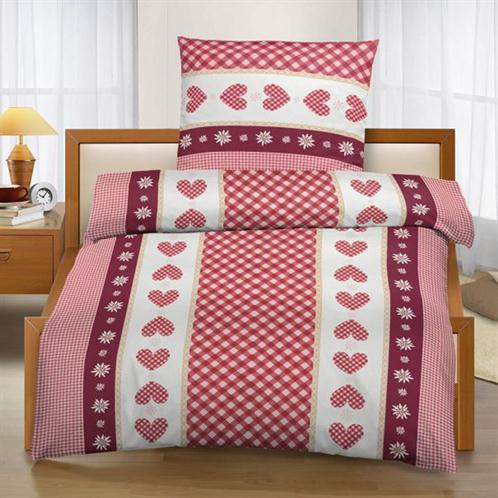 bettw sche landhaus stil kuschelig fleece rot karos kariert herzen bettgarnitur ebay. Black Bedroom Furniture Sets. Home Design Ideas