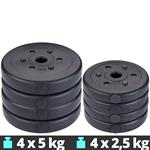 30 kg Hantelscheibenset Kunststoff 4x5 kg 4x2,5 kg Ø 30 mm