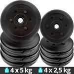 30 kg Hantelscheiben Set Kunststoff 4x5 kg 4x2,5 kg