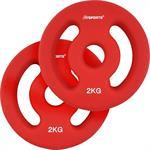 2 x 2 kg Hantelscheiben Neopren Rot mit Griffen Ø 30 mm
