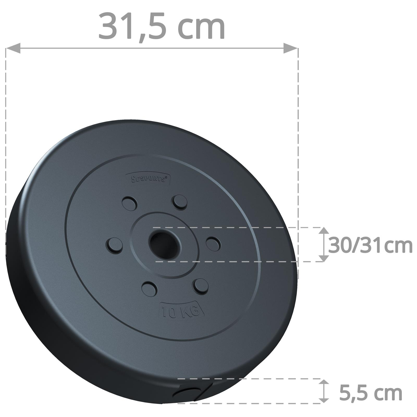 miniatuur 39 - Hantelscheiben 1,25 kg - 10 kg Kunststoff Scheiben Ø 30mm Zement Gewichte 2.Wahl