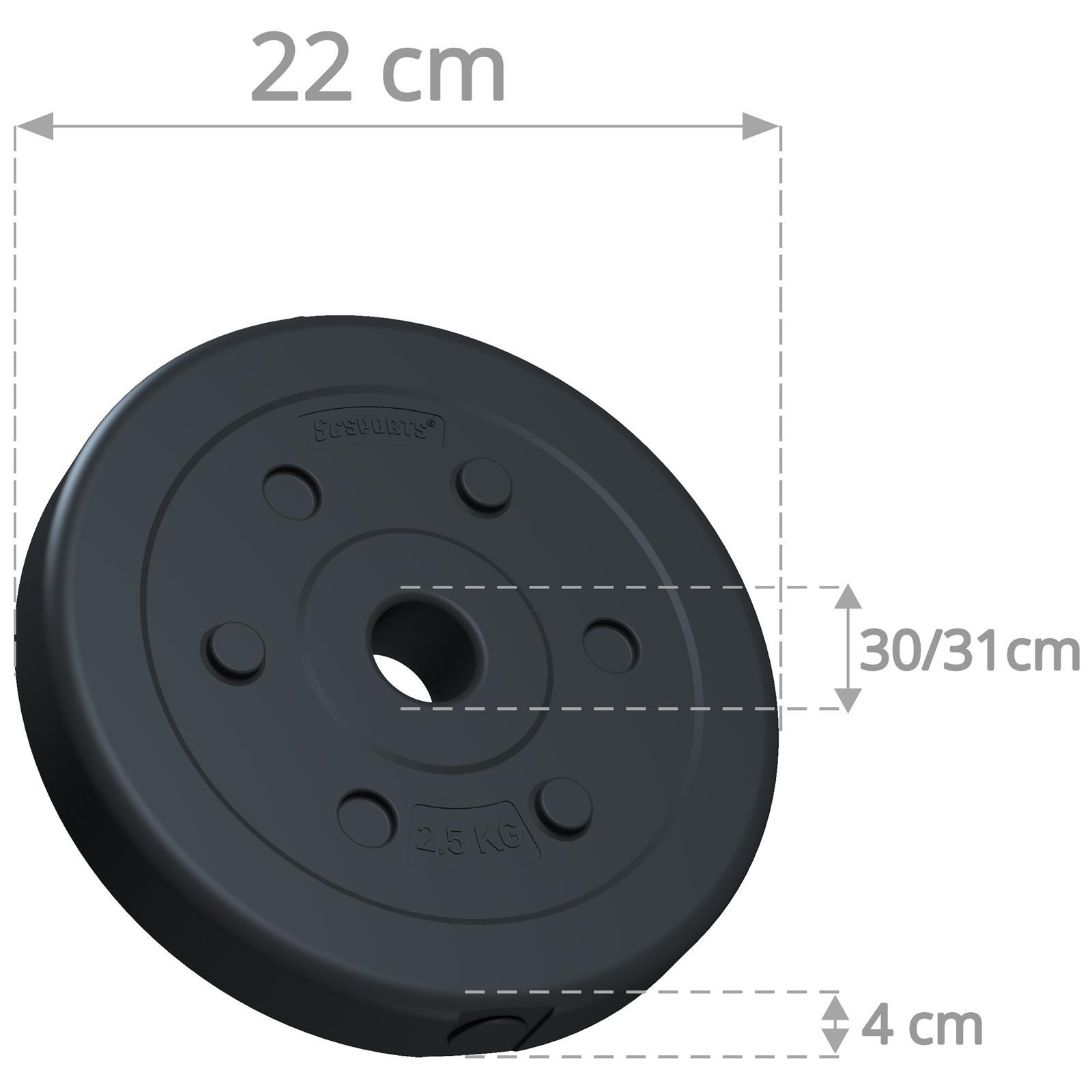 miniatuur 13 - Hantelscheiben 1,25 kg - 10 kg Kunststoff Scheiben Ø 30mm Zement Gewichte 2.Wahl