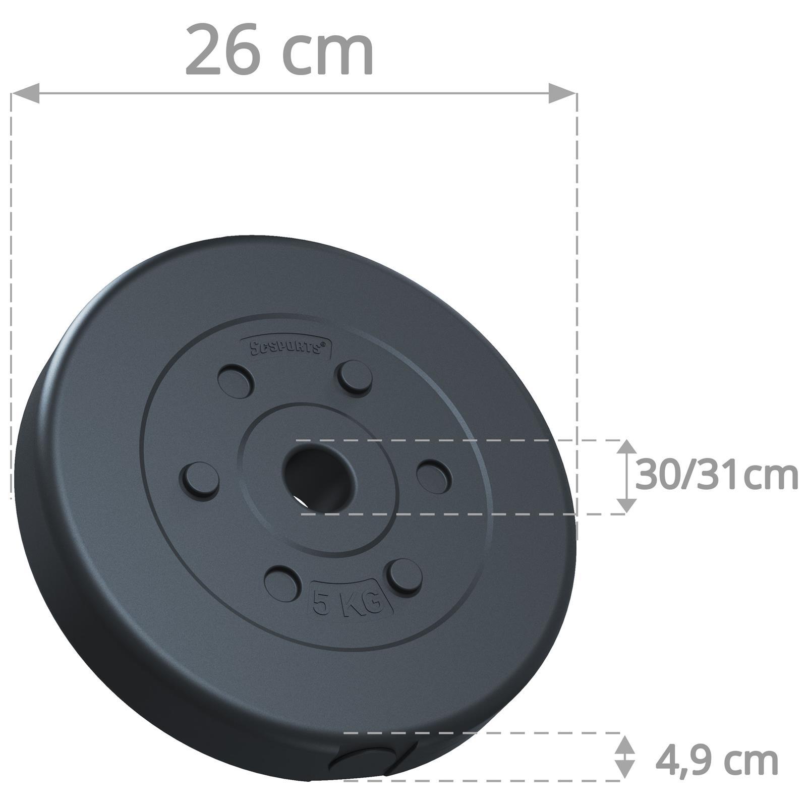 miniatuur 19 - Hantelscheiben 1,25 kg - 10 kg Kunststoff Scheiben Ø 30mm Zement Gewichte 2.Wahl