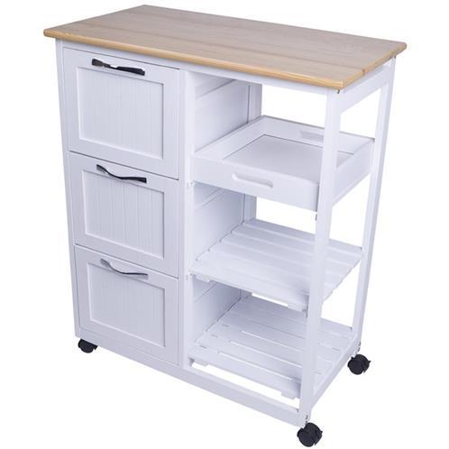 Details zu Küchenwagen Holz Servierwagen Rollwagen Küchentrolley  Beistellwagen Rollen Weiß