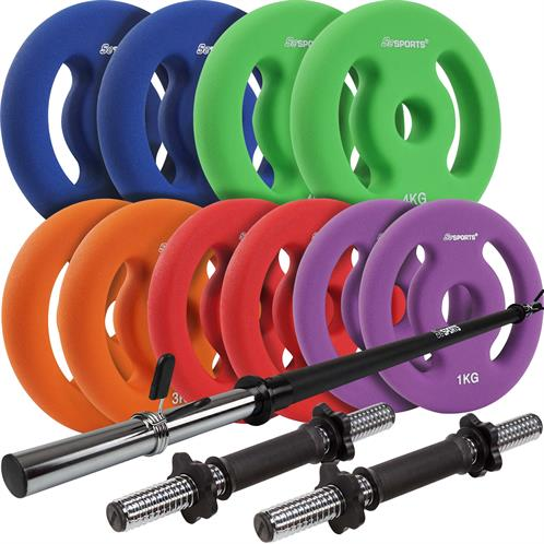 Pumpset 30 kg Aerobic Langhantel Gewichte Hantel Fitness Hantelset Set Neu