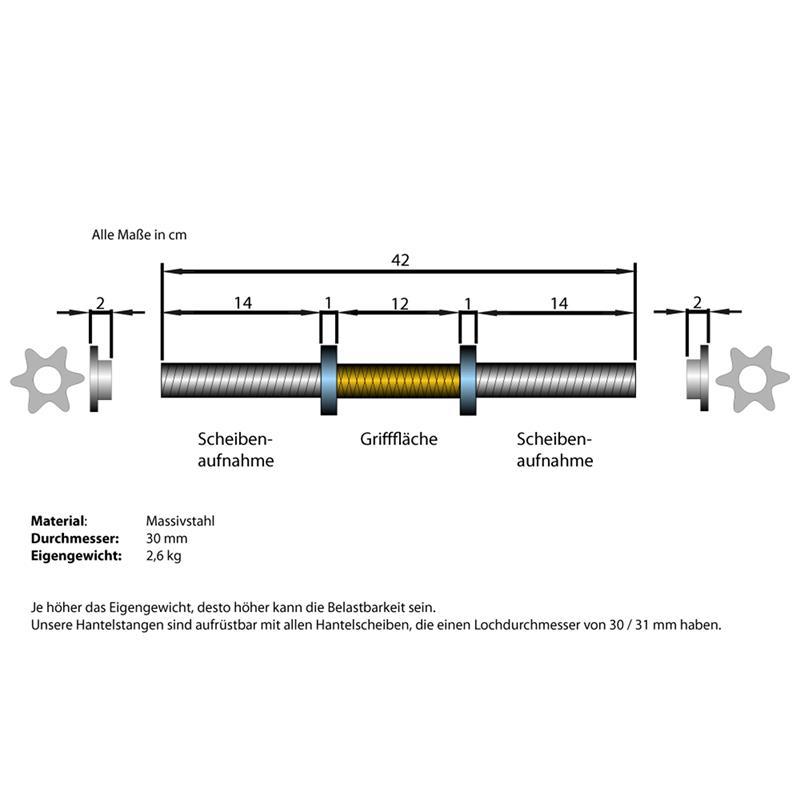 Kurzhantelstange 30 mm mit Gewinde 42 cm Länge