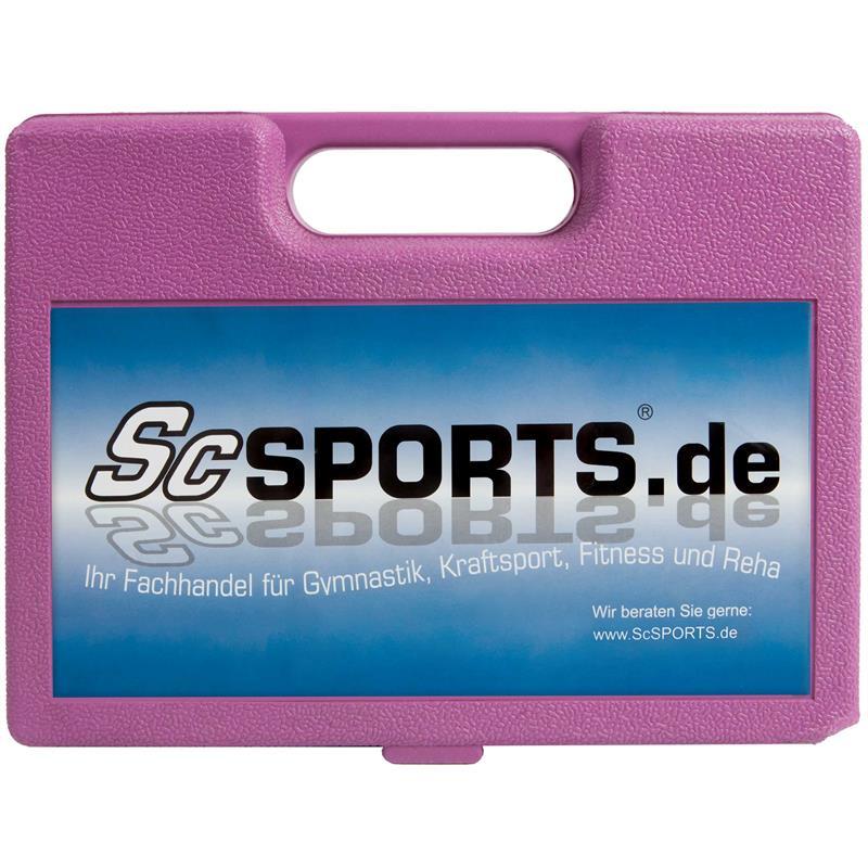 5 kg Kurzhantelset Chrom mit pinkem Koffer