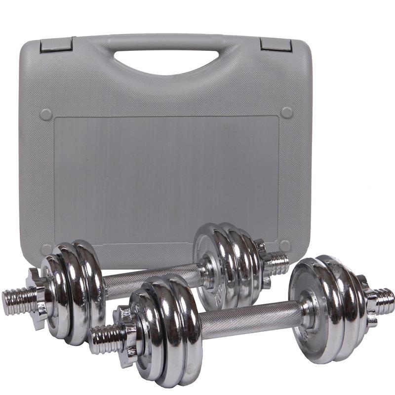 15 kg Kurzhantelset Chrom mit Koffer