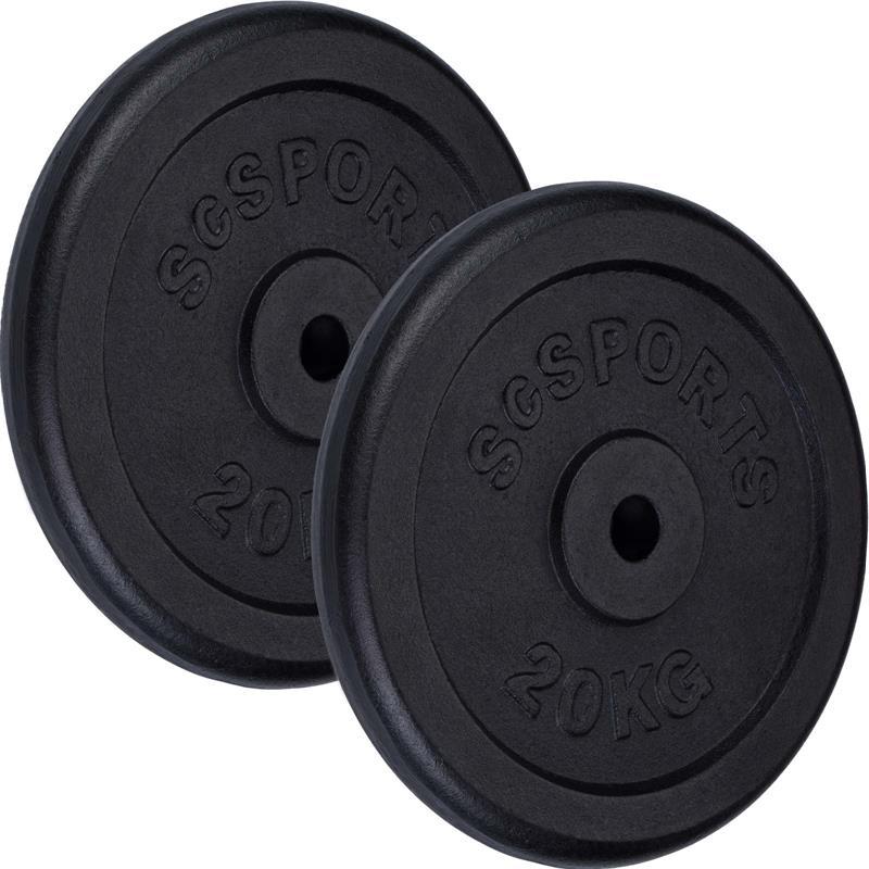 40 kg Hantelscheibenset Gusseisen 30 mm 2x20 kg
