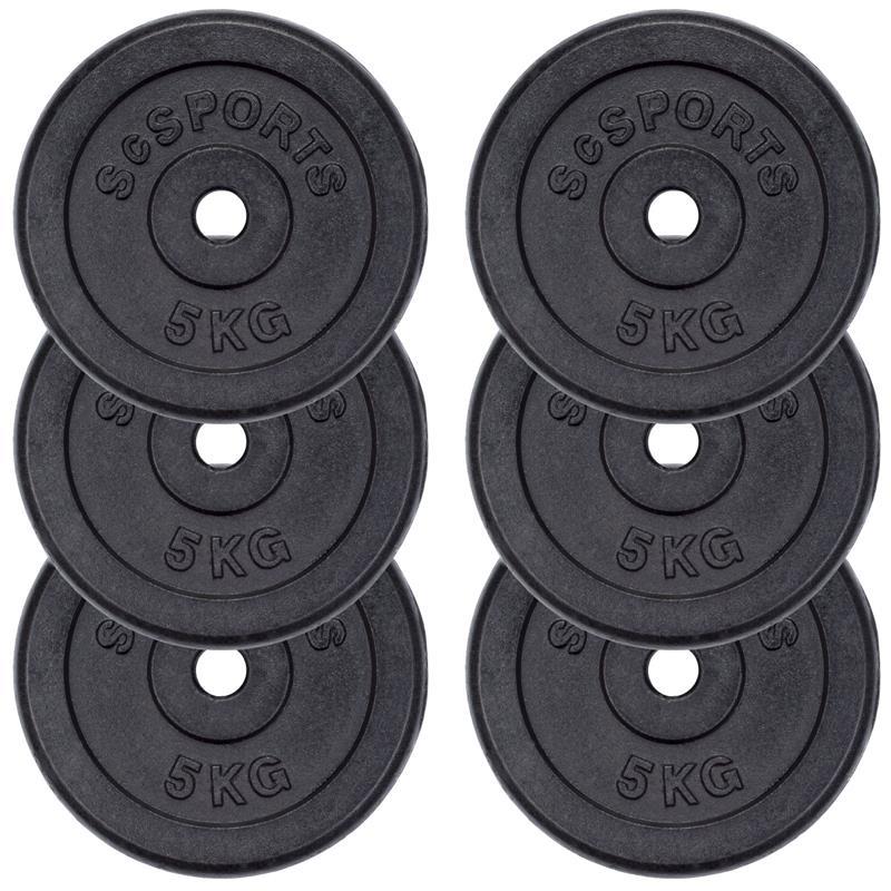30 kg Hantelscheibenset Gusseisen 30 mm 6x5 kg