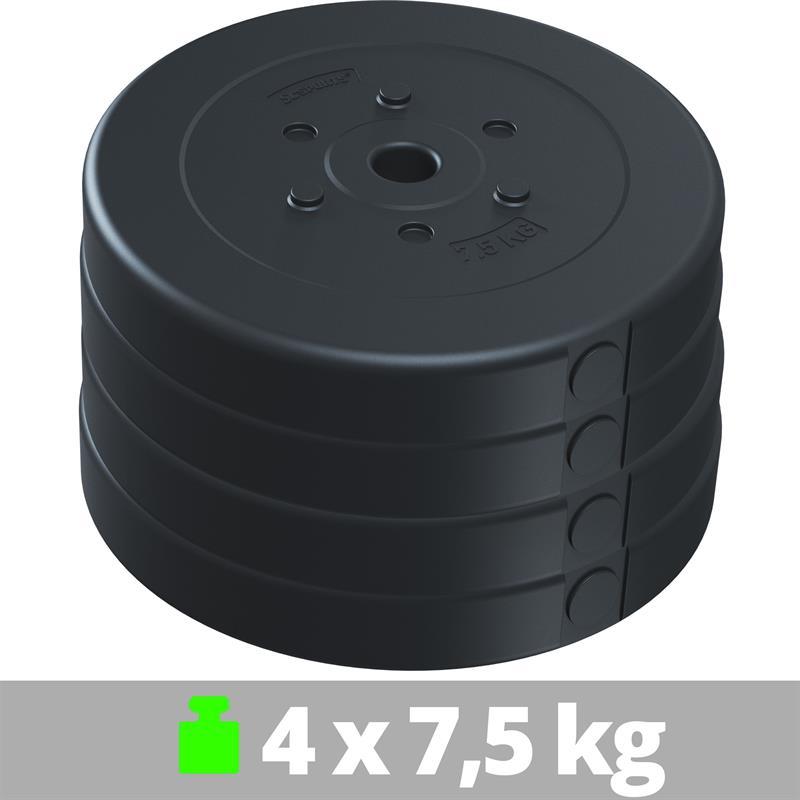 30 kg Hantelscheibenset Kunststoff 4x7,5 kg Ø 30 mm