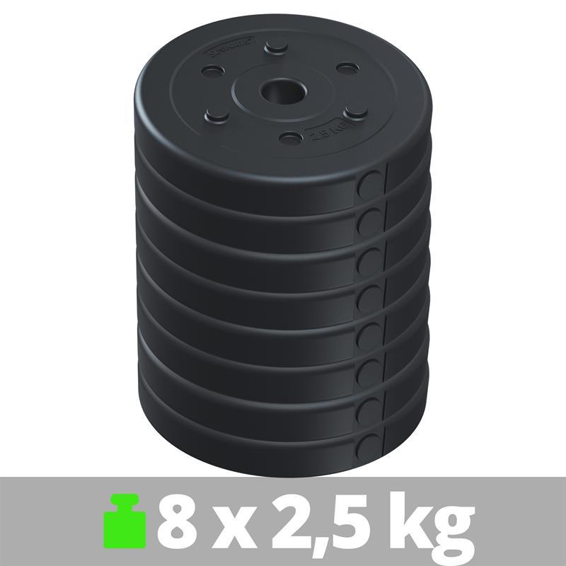 20 kg Hantelscheibenset Kunststoff 8x2,5 kg Ø 30 mm