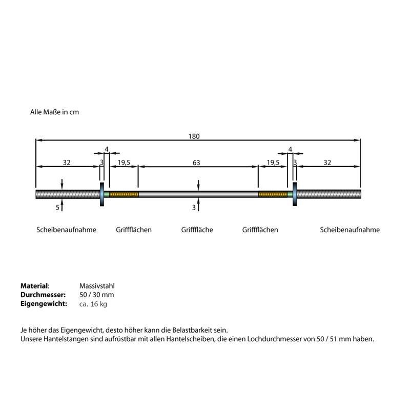 Langhantelstange 50 mm ohne Gewinde 180 cm Länge