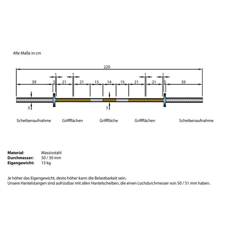 Langhantelstange 50 mm ohne Gewinde 220 cm Länge