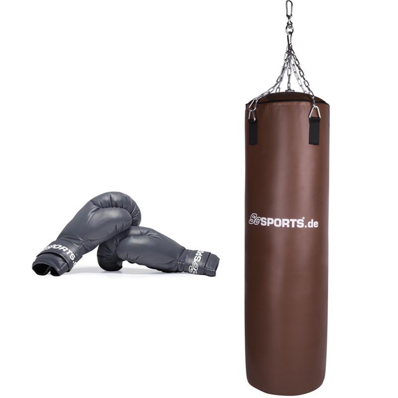 Boxset mit 120 x 35 cm großem Boxsack und Boxhandschuhen