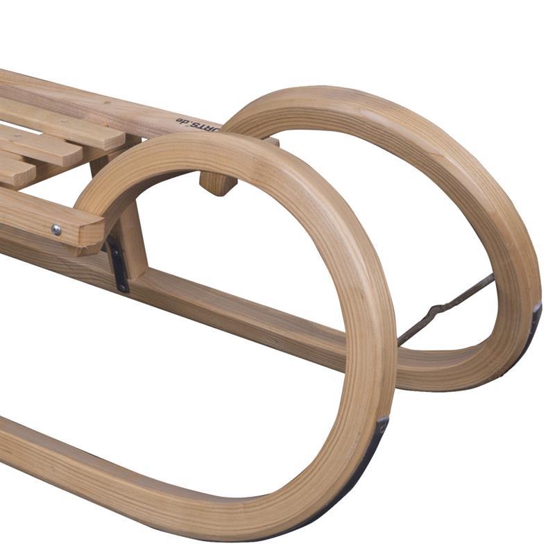 Hörnerschlitten mit Ziehgurt Holzknauf