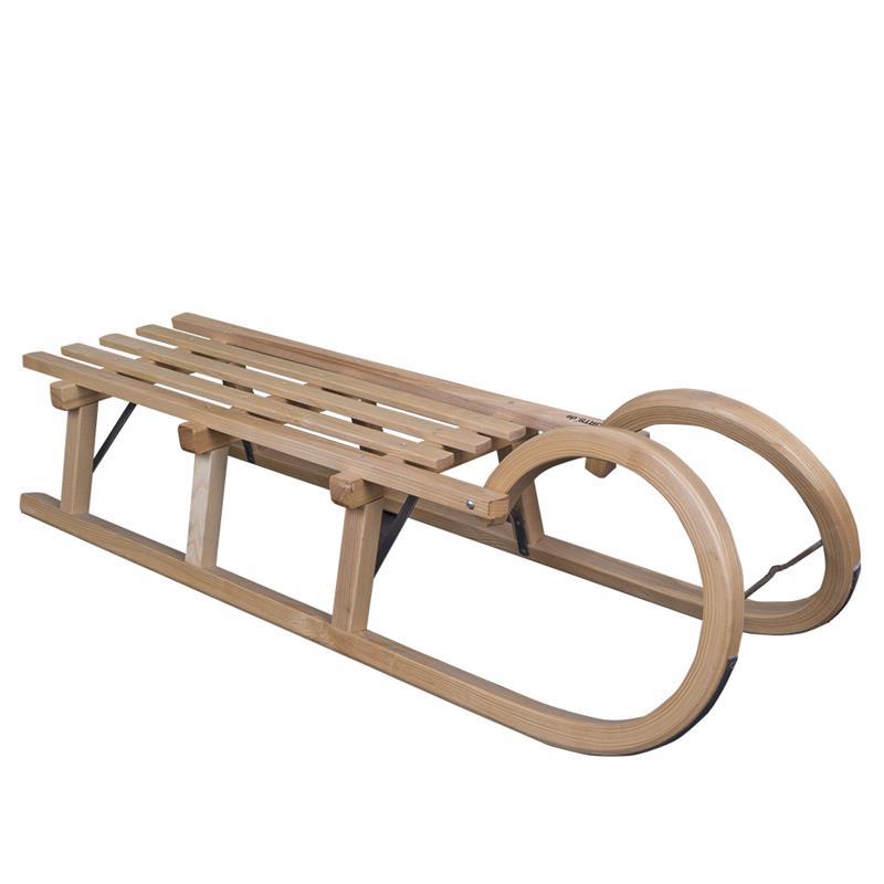 Hörnerschlitten 115 cm + Holzlehne + Ziehgurt Glocke