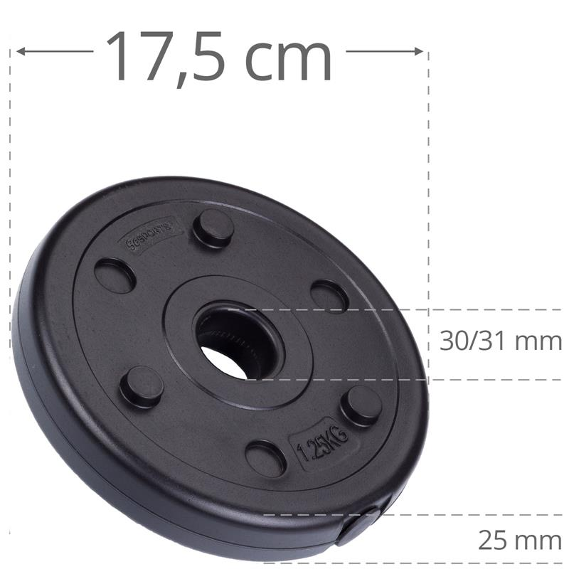 18,5 kg Hantelscheibenset Kunststoff 2x5 kg 2x3 kg 2x1,25 kg Ø 30 mm