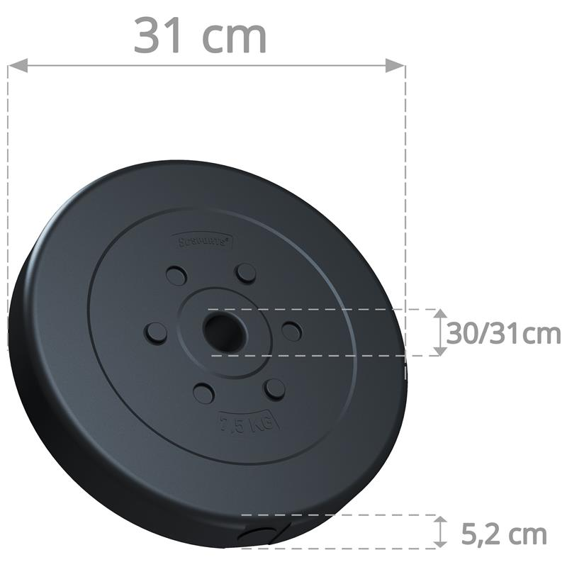 30 kg Hantelscheibenset Kunststoff 2x7,5 kg 4x2,5 kg 4x1,25 kg Ø 30 mm