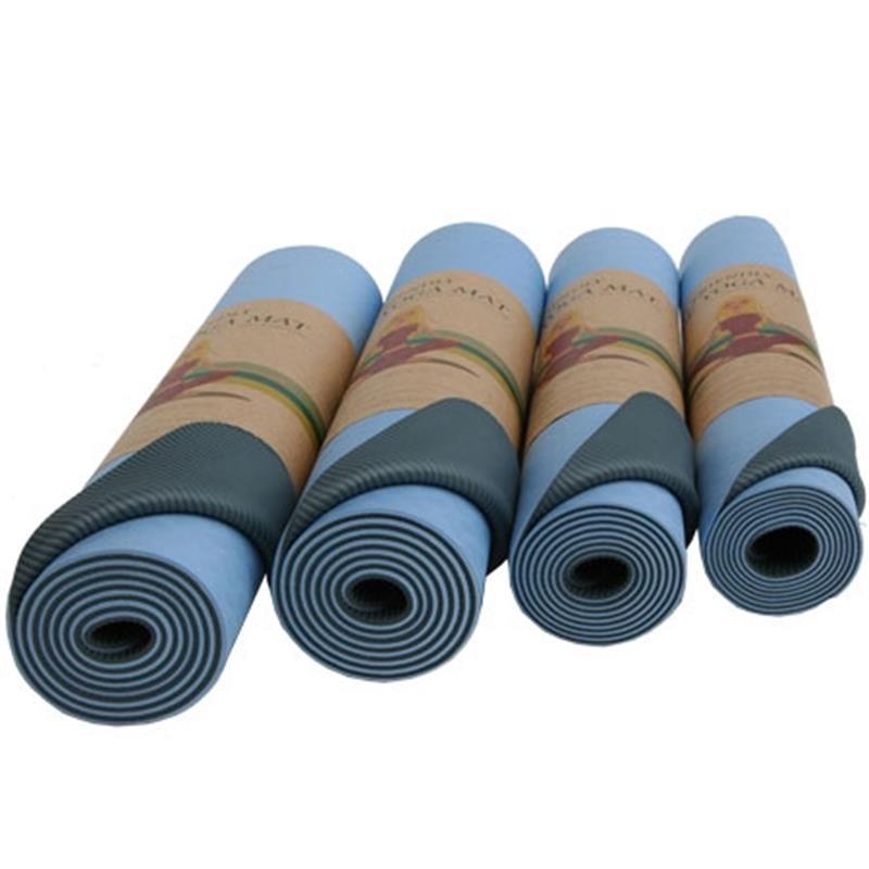 Yogamatte mit Tragegurt 183 x 60 x 0,6 cm blau