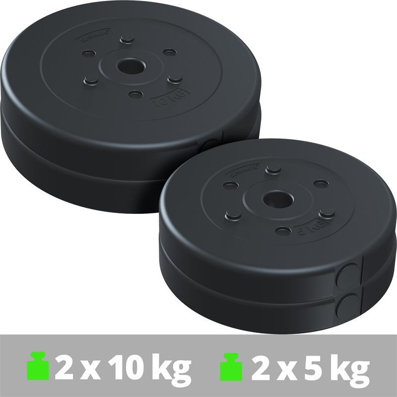 30 kg Hantelscheibenset Kunststoff 2x10 kg 2x5 kg Ø 30 mm