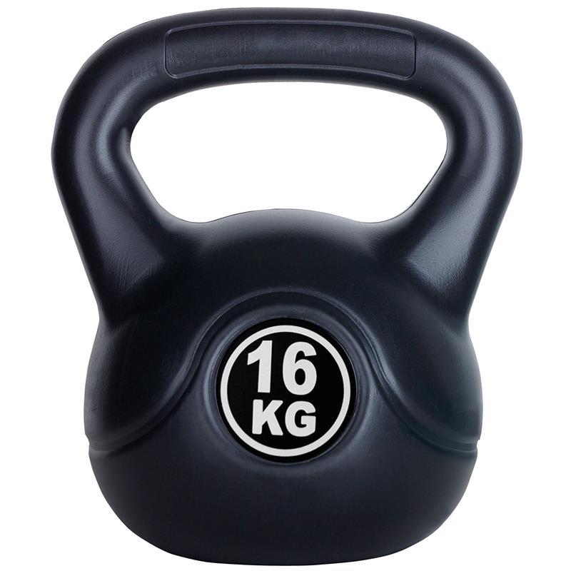 16 kg Kettlebell Kunststoff und Zementfüllung