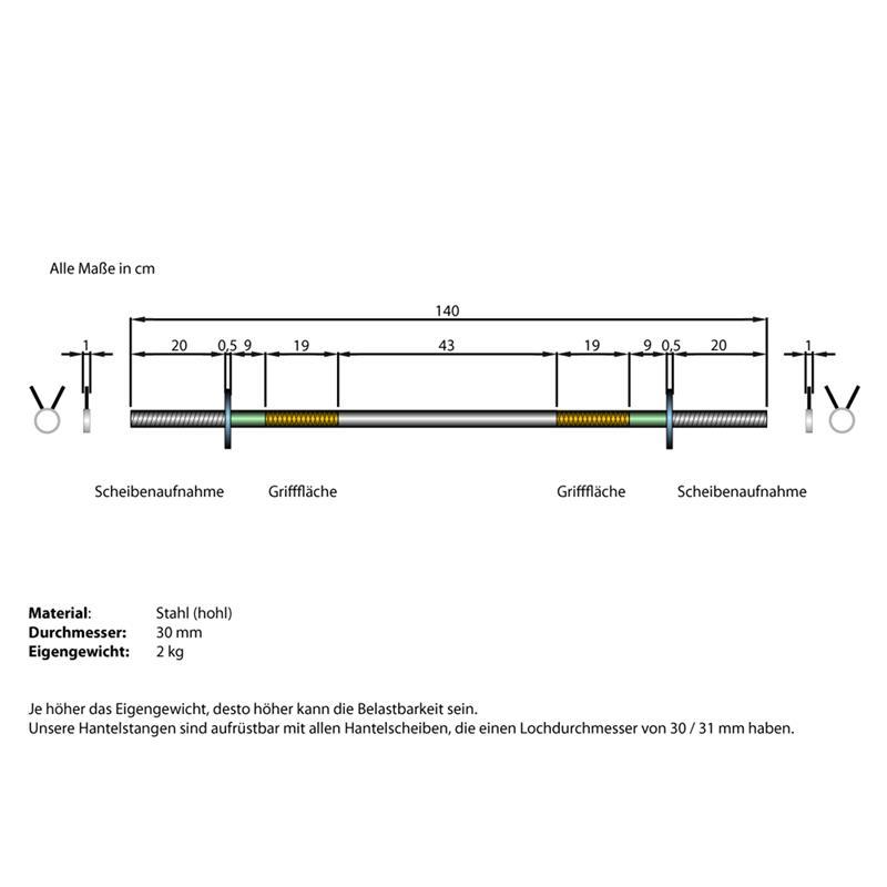 Langhantelstange hohl 30 mm ohne Gewinde 140 cm Länge