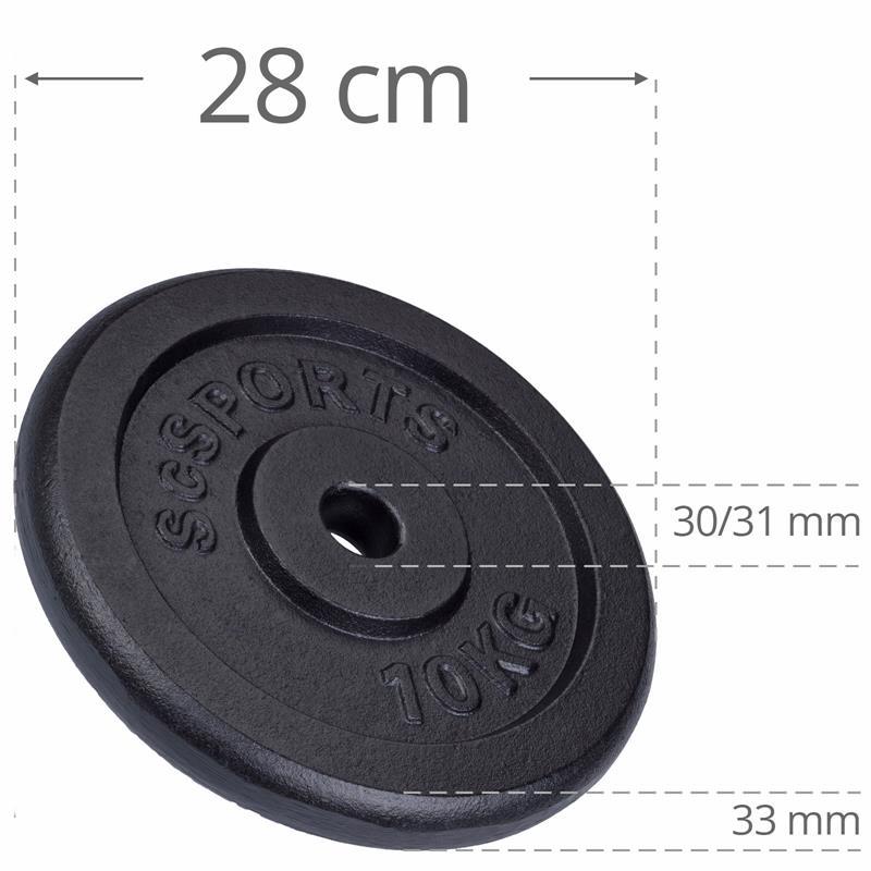 40 kg Hantelscheibenset Gusseisen 30 mm 4x10 kg