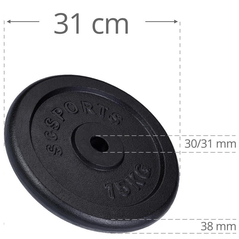 60 kg Hantelscheibenset Gusseisen 30 mm 4x15 kg