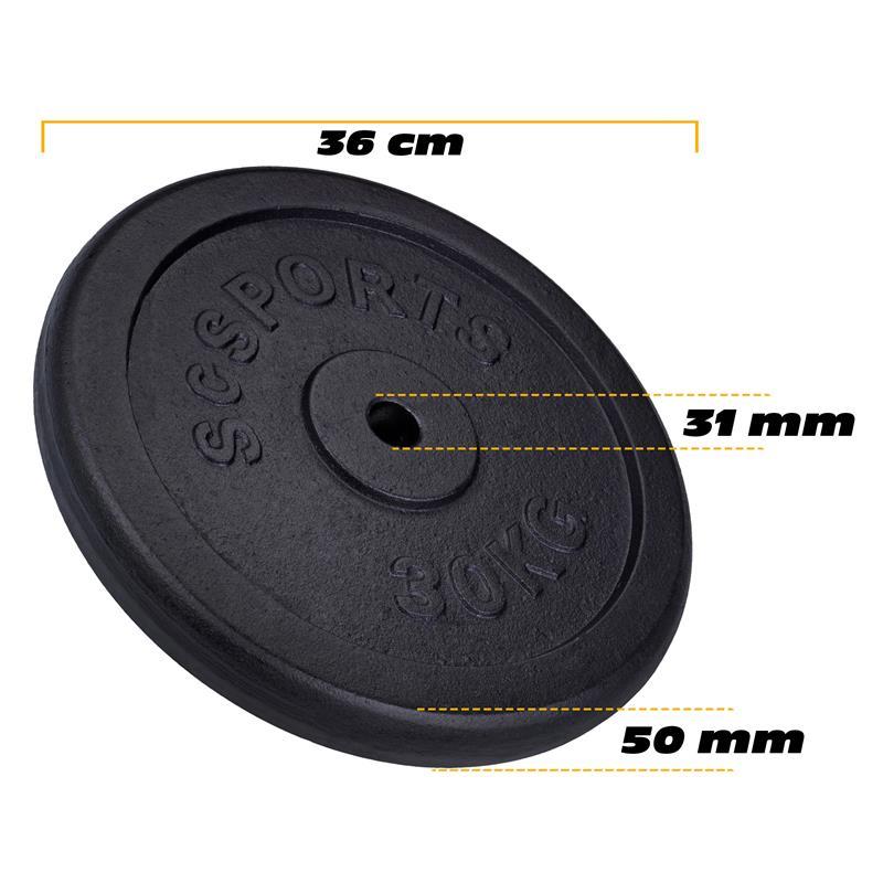 60 kg Hantelscheibenset Gusseisen 30 mm 2x30 kg