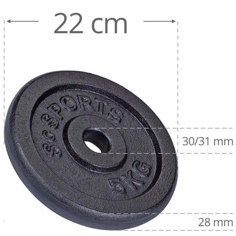 25 kg Hantelscheibenset Gusseisen 30 mm 4x1,25 4x2,5 2x5 kg