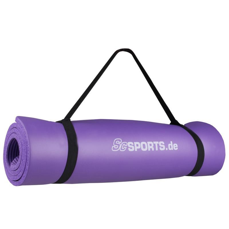 Gymnastikmatte Sportmatte mit Trageverschlussband 120 x 63 x 1 cm lila