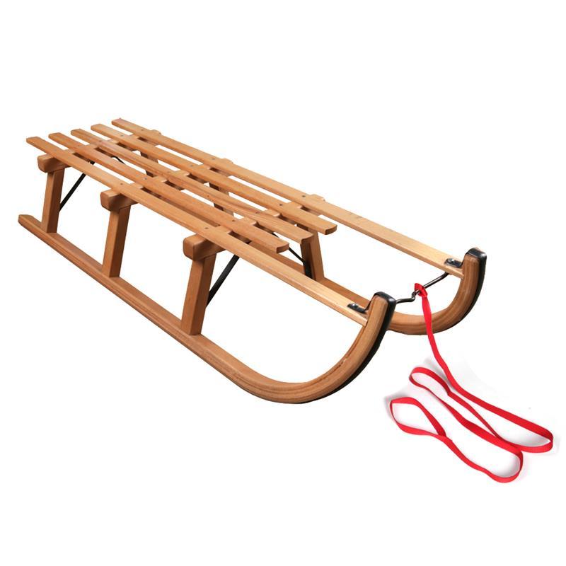 Holzschlitten Davos 110 cm + Ziehgurt in rot